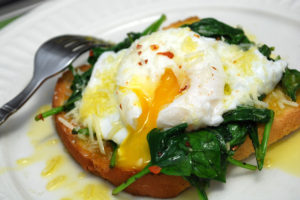 Sunny-Side-Up Egg and Spinach on Toast